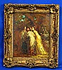 ANTONIO MANCINI 1852-1930 OIL ON PANEL. Attributed: 4 women in a landscape,unsigned.Set in pierce carved gilt gessoed Louis XV style frame. Size: panel: 11''h, 9''W. frame: 14 1/4''H, 12 1/2''W. Condition: age appropriate wear.