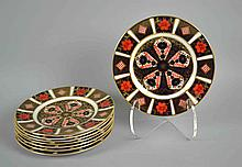 (8) EIGHT ROYAL CROWN DERBY IMARI BREAD AND BUTTER PLATES #1128 XLIX - 6 1/4''diam. Iron Red, Cobalt Blue, and 22 Carat Gold. Condition, age appropriate wear. All items are sold as is.