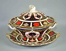 (3) THREE PC ROYAL CROWN DERBY IMARI SOUP TUREEN AND PLATTER #1128 - Iron Red, Cobalt Blue, and 22 Carat Gold. Size, platter 12 3/4''diam. tureen 9 1/2''x13''. Condition, age appropriate wear. All items are sold as is.