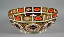 ROYAL CROWN DERBY IMARI ROUND CENTER BOWL - #1128 Iron Red, Cobalt Blue and 22 Carat Gold. Measures, 9''x3 3/4''. Condition, age appropriate wear. All items are sold as is.