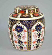 ROYAL CROWN DERBY IMARI GINGER JAR - #1128, XLV. Iron Red, Cobalt Blue and 22 Carat Gold. Measures, 6''x6 1/2''. Condition, age appropriate wear. All items are sold as is.
