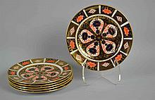 (6) SIX ROYAL CROWN DERBY IMARI DESERT/SALAD PLATES - #1128 - Iron Red, Cobalt Blue and 22 Carat Gold. 7''diam. Condition, age appropriate wear. All items are sold as is.