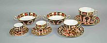 (10) TEN PCS ROYAL CROWN DERBY IMARI #1128 #2451 - To Include (2) cream soup bowls, (1) coffee cup - 3 3/4'', (1) tea cup - 3 1/4'' , (1) Demitasse cup - 2 1/2'', and (1) Espresso Cup - 2'', all with underplates. Iron Red, Cobalt Blue, and 22 Carat