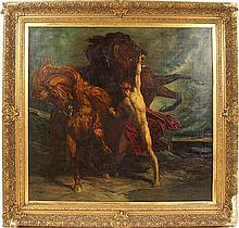 HENRI REGNAULT (French 1843-1871) 'Automedon and the Horses of Achilles', oil on canvas, signed lower left H. Regnault, Rome and dated 1868. Contained in period gilt frame. Condition: relined, some restoration, damage to frame. Dimensions: 38'' X 39
