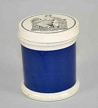 VICTORIAN OINTMENT POT LID. Holloway's Ointment trademark 353 Oxford St. London in pots. Black transfer round pot top, blue decorated pot sides. Size: 4''H, 3 1/2''Diam. top. Condition; age appropriate wear. All items are sold as is. (roughness on