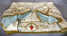 VINTAGE SATIN ALTAR COVER - Satin material with detailed religious scenes, metal and silk threading and fringe. Measures 5'6'' x 4'6'', side flaps 10'' wide - Condition: Age appropriate wear; All items sold as is.