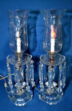 PAIR CRYSTAL HURRICANE LAMPS WITH 6'' PRISMS - Hurrican shades on candlestick like base, (8) 6'' prisms each (none are missing) - Condition: minor flea bites; Age appropriate wear; All items sold as is.