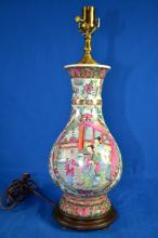 ROSE MEDALLION VASE LAMP - (2) Figural scenes on opposite sides; floral borders and background; Measures: 21.5'' total height; 14.5'' vase height; Approx 7'' diameter at widest - Condition: Age appropriate wear; All items sold as is.