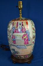 ROSE MEDALLION VASE LAMP - (2) Figural scenes on opposite sides; floral borders and background; Measures: 19.5'' total height; 12.5'' vase height; Approx 8'' diameter at widest - Condition: Age appropriate wear; All items sold as is.