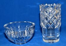 ORREFORS CRYSTAL VASE AND BOWL - Vase: scribed Orrefors B 383422, 8''H x 4.5'' diameter; Bowl: scribed Orrefors P 4197-121, 4.25''H x 6.25'' diameter (has multiple small chips on rim) - Condition: Age appropriate wear; All items sold as is.