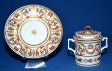 3pc EARLY DERBY 2-HANDLED CHOCOLATE CUP - includes cover and stand; measures: 5''H x 6.5''W - Condition: Excellend condition; Age appropriate wear; All items sold as is.
