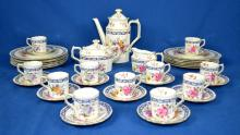 39pcs ROYAL CROWN DERBY - Floral pattern circa 1890-1940; including Tea pot, cream & sugar, (12) luncheon plates and (12) demitasse cups and saucers - Condition: Age appropriate wear; All items sold as is.
