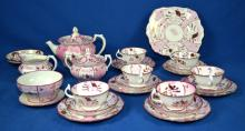 24pcs GREY'S PINK LUSTERWARE - by Stoke on Trent England - Condition: Age appropriate wear; All items sold as is.