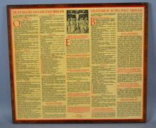 COMPOSITION OF PRIESTS' DAILY LATIN PRAYERS - Latin Priests' prayers for before and after mass, mounted on wood and sealed; Measures: 16.5''H x 18.75''W - Condition: Age appropriate wear; All items sold as is.