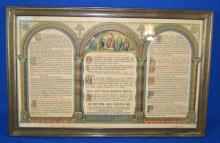 (3) 1900'S TURGIS FILS PRAYER LITHOGRAPHS - Priests' ''office'' or daily prayers; Latin, Gregorian Chant, Gloria, etc; set under glass in brass frames; Measures: (2) Visible Art 10.5''H x 6.5''W, Frame 12''H x 8.5''W, (1) Visible Art 10.5''H x 17.5''W, Frame 12.5''H x 19.5''W - Condition: Age appropriate wear; All items sold as is.