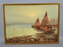 OIL ON CANVAS NAUTICAL SCENE - Nautical Scene; Oil on Canvas; Not Signed: set in modern frame - Condition: Small hold left center of canvas; Age appropriate wear; All items sold as is.