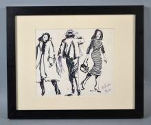 DOUBLE SIDED PEN & INK - pen & ink drawings of women on each side of frame; under glass in modern frame by Art Etc Framing, Cleveland OH; Measures: Frame  13.5''H x 16.5''W  - Condition: Age appropriate wear; All items sold as is.