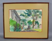 HARRY BROWN (AMERICAN, b. 1901) - Landscape; Watercolor; Signed lower right ''Harry Brown '46''; wooden frame; Measures: Visible Art 14''H x 20.75''W, Frame 24''H x 29''W - Condition: Age appropriate wear; All items sold as is.