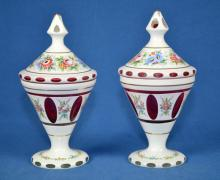 (2) CZECH BOHEMIAN WHITE CUT TO RED GLASS COVERED DISHES - Condition: Age appropriate wear; All items sold as is.
