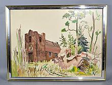 KATHERINE ''KAE'' DORN CASS (OHIO US, 1901-1971) - Wooded house scene; Watercolor; signed lower right; under glass in modern frame; News article regarding artist on reverse; Measures: Visible Art   20.75''H x 28.25''W, Frame  23.25''H x 31''W  - Condition: Age appropriate wear ; All items sold as is.