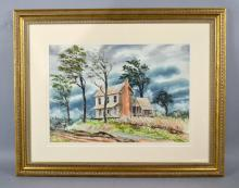 BOB BLAKE (AMERICAN, 20TH CENTURY) - Country house scene; Watercolor; signed lower right; under glass in gilt gesso frame; Measures: Visible Art   14''H x 20''W, Frame  30''H x 35.25''W  - Condition: Age appropriate wear ; All items sold as is.