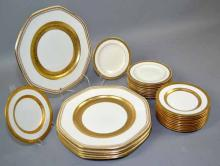 (28) ASSORTED GOLD BANDED PLATES - Including (11) Sauldon bread plates, (11) Minton dessert plates and (6) old English & Sons underplates - Condition: Age appropriate wear; All items sold as is.