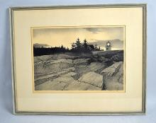 STOWE WENGENROTH LITHOGRAPH ''EVENING QUIET'' PORT CLYDE MAINE #ED/40 - 1954 Signed lithograph, numbered ED/40; Measures: Visible Art 11''H x 15.5''W, Frame 10''H x 22.25''W - Condition: Age appropriate wear; All items sold as is.