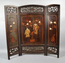 3-PANEL CHINESE TABLE SCREEN - Figural decoration in relief; Dimensions: 29.5''H x 31''W - Condition: Age appropriate wear; All items sold as is.