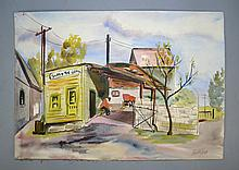 RINALDO ROCCO PALUZZI (GREENSBURG & SPAIN, 1927-2013) WATERCOLOR - Rustic country town scene, watercolor, unframed & signed lower right; Rinadli Paluzzi was born in Greensburg Pennsylvania. He began his artistic career at the Pittsburgh Art Institute, but trained at the John Herron School of Art in Indianapolis, Indiana. He studied in Italy as a trasfer student, and later returned on a Louis Comfort Tiffany Grant after receiving his Masters at Indiana University. His works have been exhibited across the US from Los Angeles to Philadelphia, and all over Europe. Paluzzi settled in Madrid, where he passed away in 2013. Measures: 14''H x 20''W - Condition: Age appropriate Wear; All items sold as is.