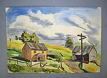 RINALDO ROCCO PALUZZI (GREENSBURG & SPAIN, 1927-2013) WATERCOLOR - Rustic country scene, watercolor, unframed & unsigned; Rinadli Paluzzi was born in Greensburg Pennsylvania. He began his artistic career at the Pittsburgh Art Institute, but trained at the John Herron School of Art in Indianapolis, Indiana. He studied in Italy as a trasfer student, and later returned on a Louis Comfort Tiffany Grant after receiving his Masters at Indiana University. His works have been exhibited across the US from Los Angeles to Philadelphia, and all over Europe. Paluzzi settled in Madrid, where he passed away in 2013. Measures: 14''H x 20''W - Condition: Age appropriate Wear; All items sold as is.
