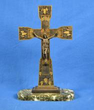 MIXED METAL VINTAGE CRUCIFIX ON MARBLE BASE - Crucifix sits upon a green marble base; Measures:  16.5''H x 10.5''W - Condition: Age appropriate wear; All item sold as is.