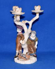 ROYAL WORCHESTER 3-LIGHT CANDELABRA - Boy, girl and a dog; Measures: 11.5''H x 8''W - Condition: Age appropriate wear; All items sold as is.
