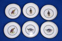 (6) ROYAL WORCHESTER COASTERS - G676, hand painted bird decoration - Condition: Age appropriate wear; All items sold as is.