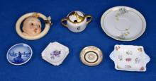 TRAY LOT ASSORTED PORCELAIN - Royal Copenhagen dish, Shelley bone china dish and more - Condition: Age appropriate wear; All items sold as is.