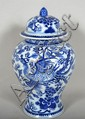 CHINESE BLUE AND WHITE STORAGE JAR. 20th c. Chinese porcelain lidded storage jar, baluster form, Kangxi-style phoenix and flowering peonies, white glazed bottom. No mark. Size; 13 1/4''H, 4''diam. top, 8''Diam. widest part, 5 1/4''Diam. base.