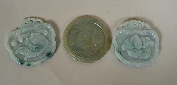 3 CARVED JADE PENDANTS. includes: (2) pair of pendants, pale green jade with dark inclusions, one with fish decorated front, one with bird decorated front, both with identical carved backs. No mark. Size: 2 1/8''H, 2 1/8''W, Condition: one top with