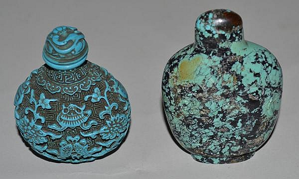 2 TURQUOISE SNUFF BOTTLES. Lot of 2 turquoise carved snuff bottles. sold as is.