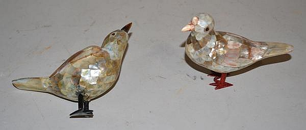 2 MOTHER OF PEARL CLAD BIRDS.  2 mother of pearl clad birds, one with missing foot.