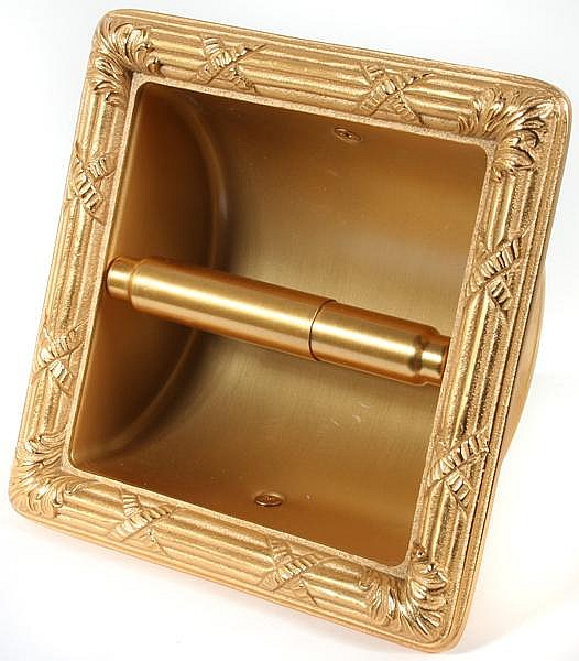 SHERLE WAGNER GOLD PLATED BRONZE TOILET PAPER WALL MOUNT UNI