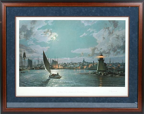 JOHN STOBART (1929- ) 'Nantucket - The Island Port by Moonlight at the Turn of the Century', color lithograph, pencil signed and numbered 347/650. Issued in 1996. Contained in matted wood frame under glass. Condition: no visible defects. Dimensions: