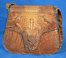 ALLIGATOR PURSE/BAG  Vintage alligator handbag. Made in Cuba.  Mark, Genuine alligator. Made in Cuba. Condition age appropriate wear. Sold as is. Worn. (L#375)