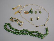 JADE JEWERLY LOT 8 PIECES Jade lot includes, 1 Bead Necklace 16''L. 1 Gold Link & Bead Necklace, 2 pair of earring (Jade). 2 Jade & Gold Pendants. 1 Jade & Gold Tone Chain Necklace, 14''L. And 1 Jade Link Bracelet, 6 1/2''L. No Mark. Condition, age