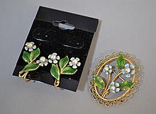 KREMENTZ PEARL&ENAMEL; 3PC SET    Flower Pin and a pair of Screw Back Earrings. Condition, age appropriate wear. All jewelry sold as is.