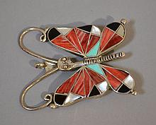 J.P. STERLING BUTTERFLY PIN  Butterfly Pin with turquoise, coral, onyx and mother of pearl on sterling.  2''H. 1 5/6''W. Mark, J.P.Sterling. Condition, age appropriate wear. All jewelry sold as is.