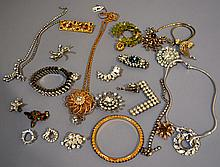 COLLECTION OF RHINESTONE JEWELRY 20+LOT  Includes, 3 necklaces, 3 bracelets, 12 pins and others. Condition, age appropriate wear. All jewelry sold as is.