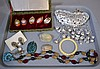 ASIAN&TRIBAL; JEWELRY LOT 12 PIECES  Lot includes, 6 enameled pendants, 1 ivory bangle bracelet, 1 buddha pendant necklace, 1 turquoise matrix pendant, 1 silvertone necklace, 2 carved scarabs and 1 pair egyptian earrings. All jewelry sold as is.