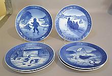 ROYAL COPENHAGEN CHRISTMAS PLATES LOT 6 PIECES  Includes,  1964, 1965, 1966, 1967, 1969 and 1971. each 7 1/4''diam. Condition, age appropriate wear.