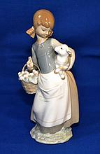 LLADRO GIRL WITH LAMB  Porcelain Figurine.  9 3/4''H.  Mark, Lladro Hand made in Spain. Condition, age appropriate wear.