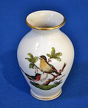 HEREND PORCELAIN ROTHSCHILD BIRD MINI VASE  Small hand painted porcelain vase.  Mark, Herend Hungary, hand painted 7190/ro.  Condition, age appropriate wear.