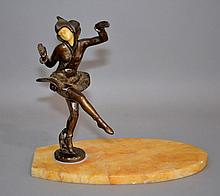 ART DECO SCULPTURE  Art deco sculpture with Chiparus style female figure. Set on a yellow onyx surfboard shaped base.  8 1/2''H. 9 1/2''L. 5''W.base.  No Mark. Condition, age appropriate wear. (figure loose on base, roughness on edges of onyx).